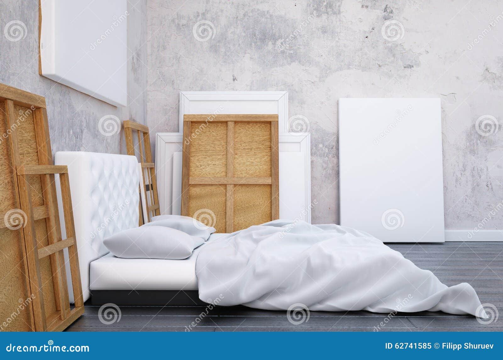 3d framför sovrummet med en säng och bilderna på golvet och väggen ...