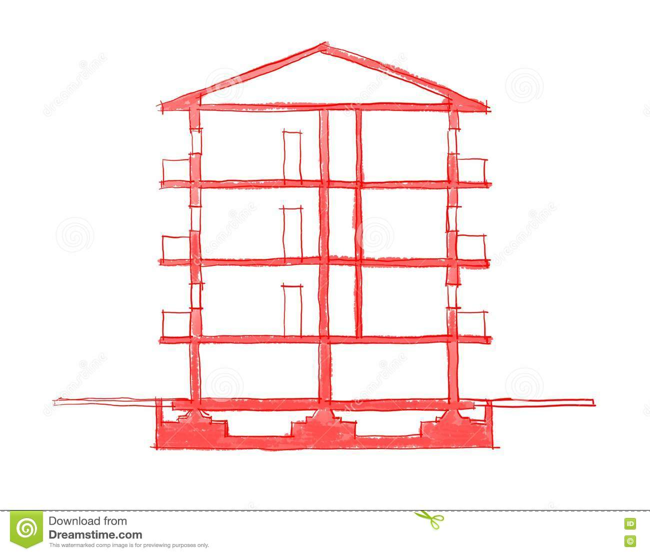 2d freehand sketch illustration of building stock for 2d building drawing