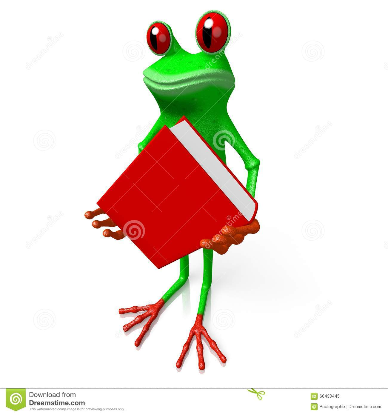3D Frog With A Book - Knowledge Concept Stock Illustration ...