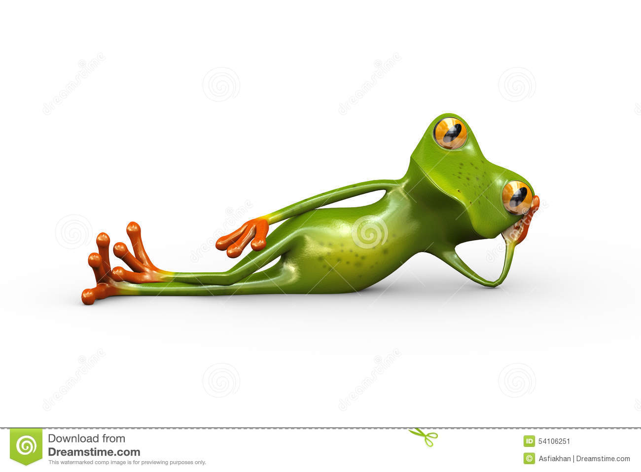 d frog stylish lying floor illustration cute funny resting side hand supporting his head 54106251