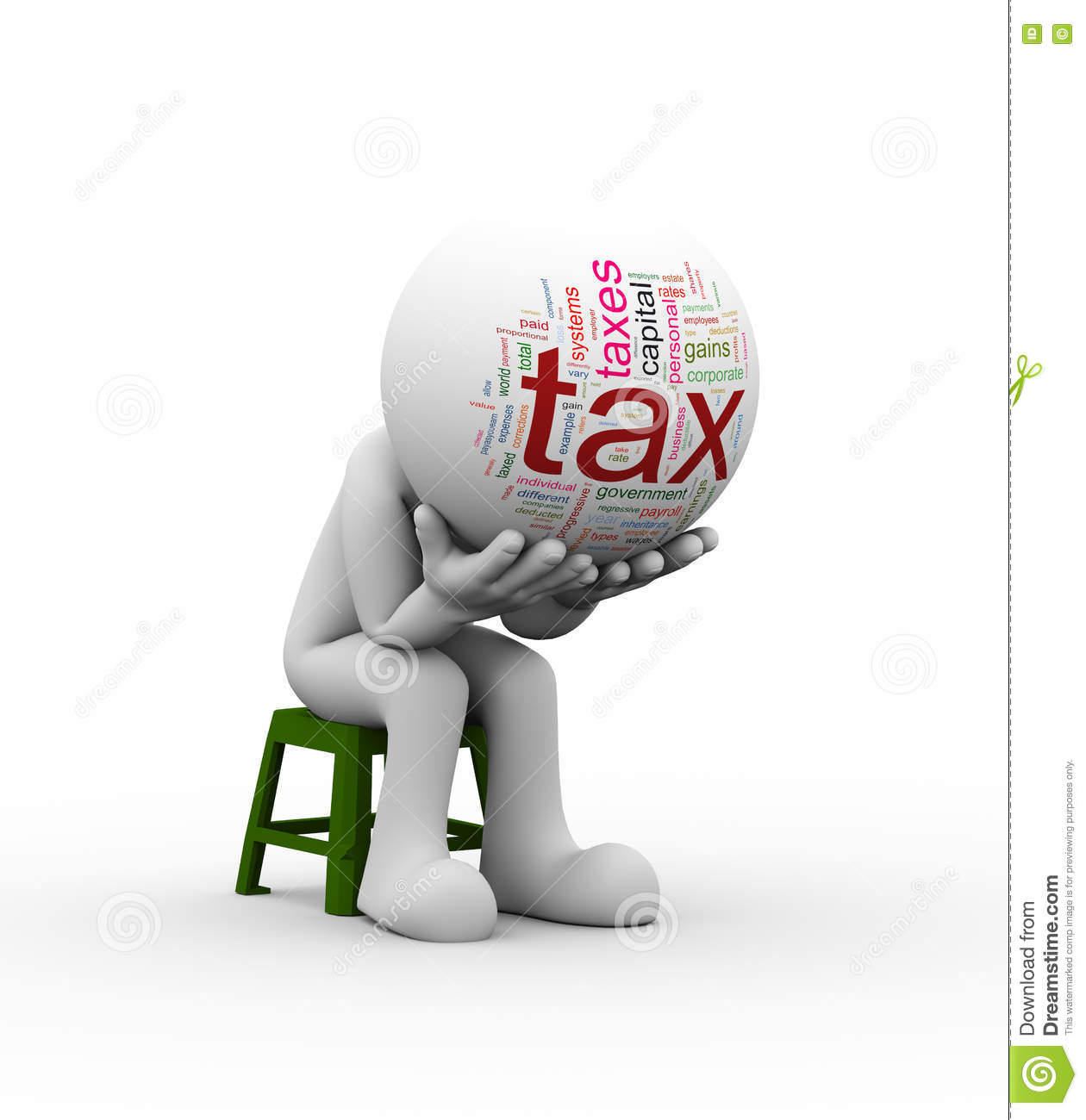 3d Frustrated Man Need Tax Help Stock Illustration