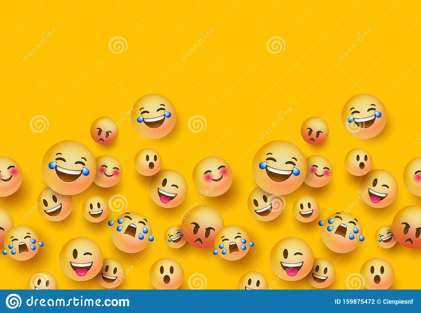 d fun emoji icon seamless pattern background fun d yellow emoticon face seamless pattern background copy space social chat 159875472