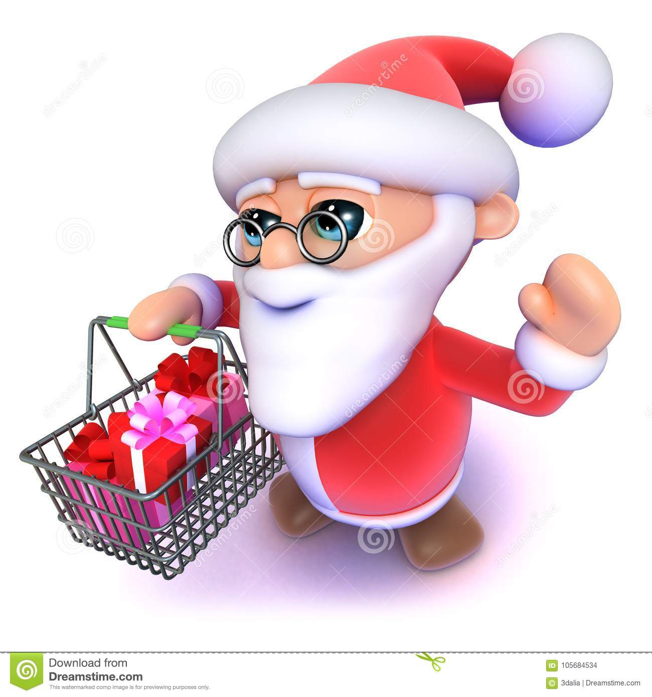 3d Funny Cartoon Father Xmas Carrying A Christmas Shopping Basket ...