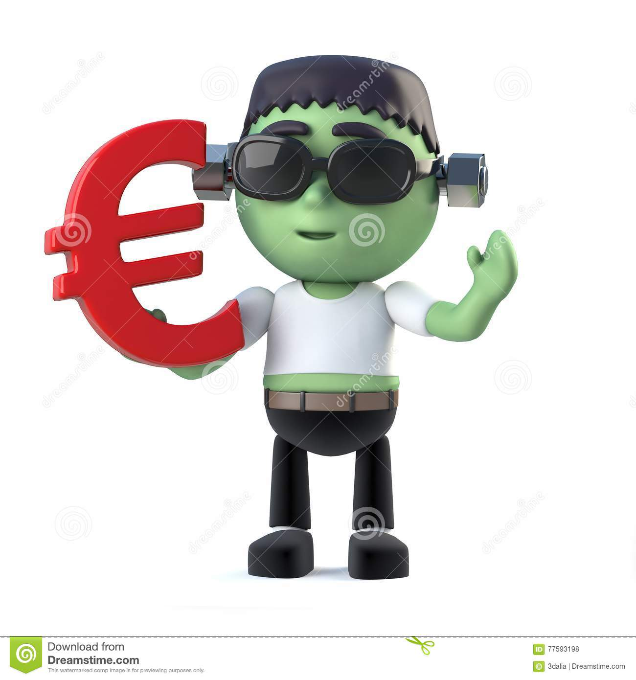 3d Funny Cartoon Frankenstein Monster Character Has Euro Currency
