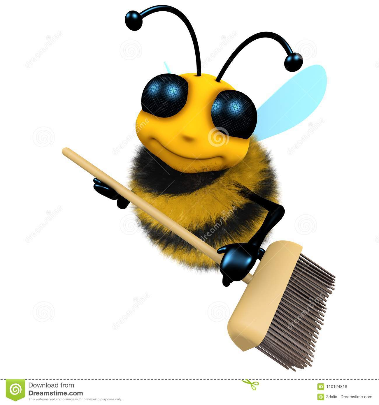 3d Funny Cartoon Honey Bee Character Is Sweeping With A