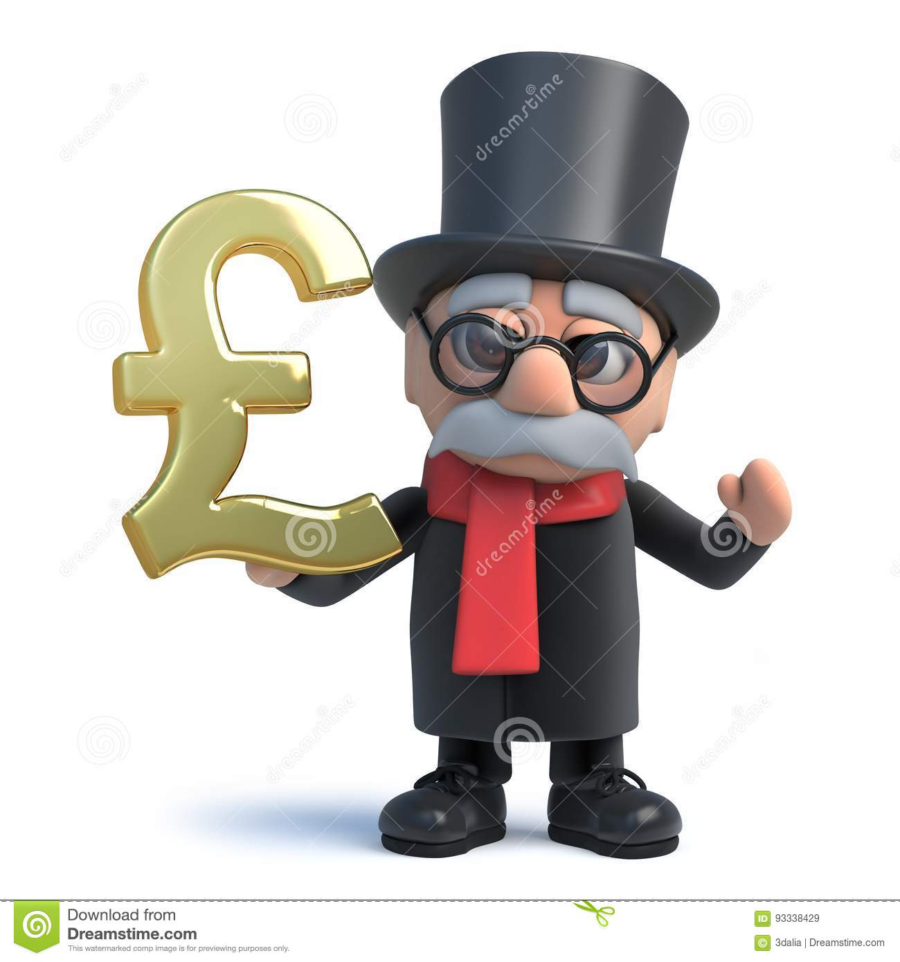 3d Funny Cartoon Lord Character In Top Hat Holding A Gold Uk Pound