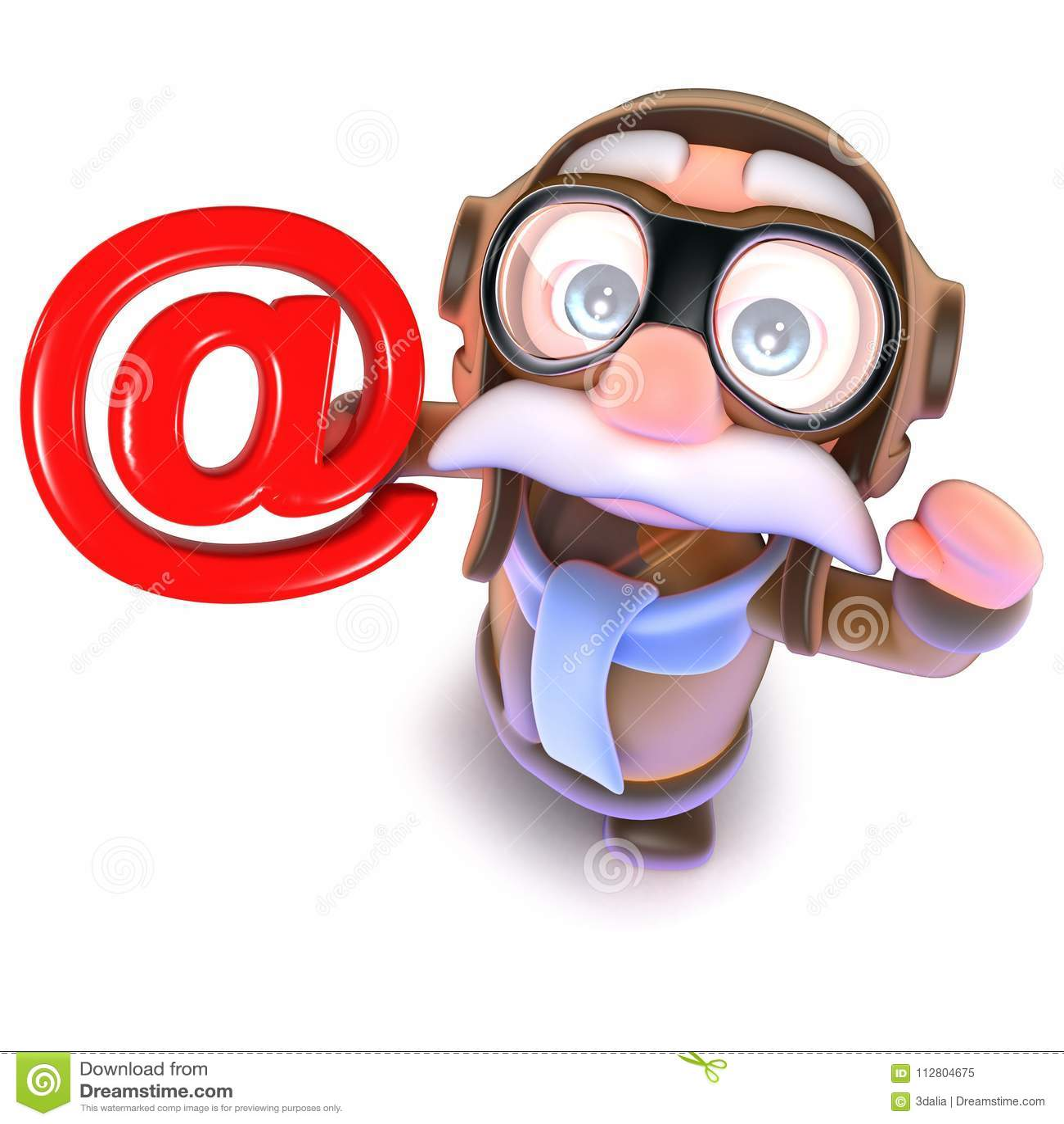 3d Funny Cartoon Pilot Airman Character Holding An Email Address