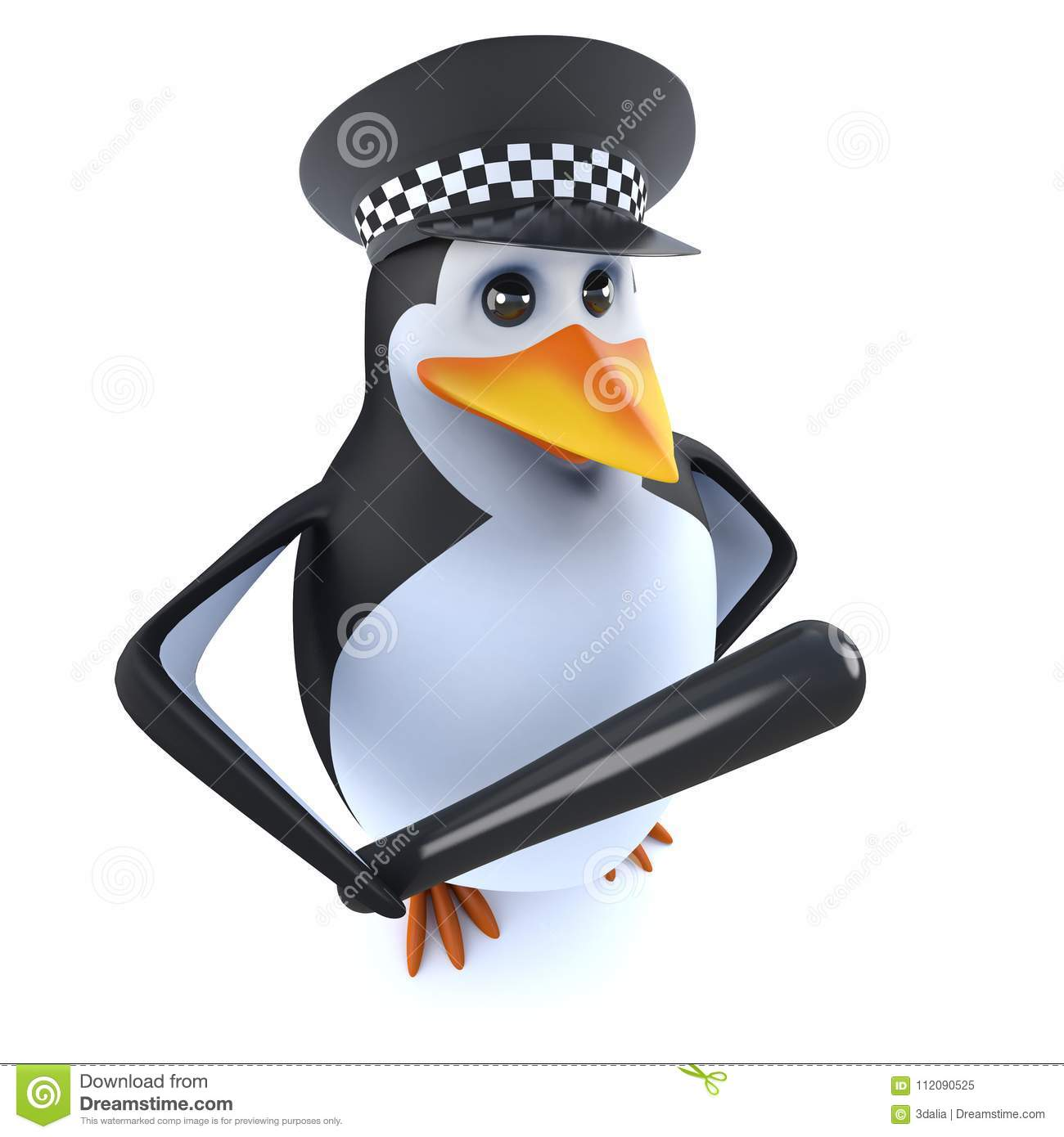 3d funny cartoon police penguin character holding a