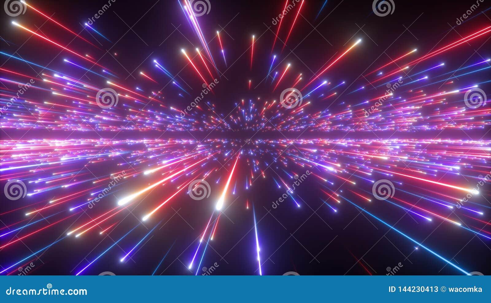 3d fuochi d artificio blu rossi, fondo cosmico astratto, Big Bang, galassia, stelle cadenti, universo, celeste, universo, velocit