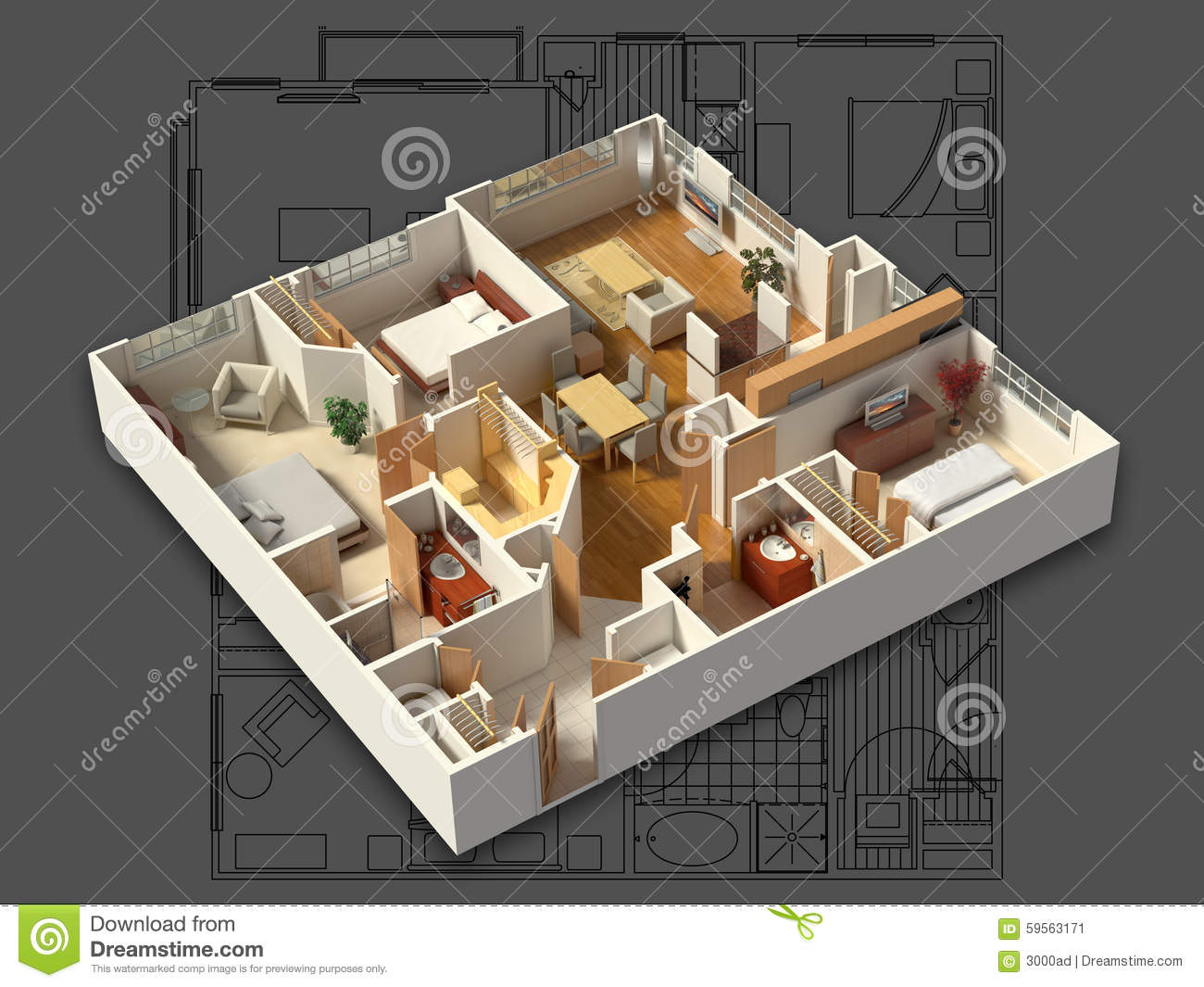 3d furnished house interior on a blueprint stock