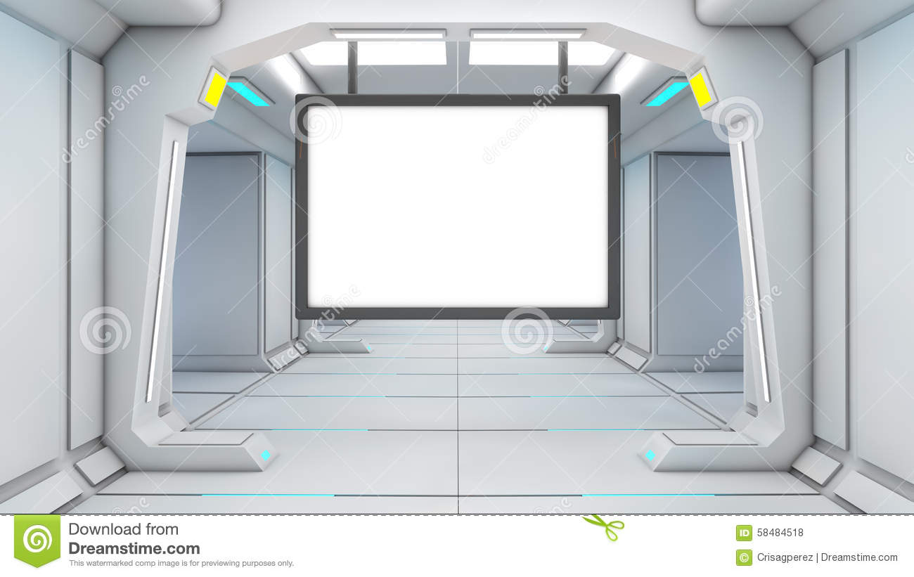 Empty office room with window - 3d Futuristic Screen Stock Illustration Image 58484518