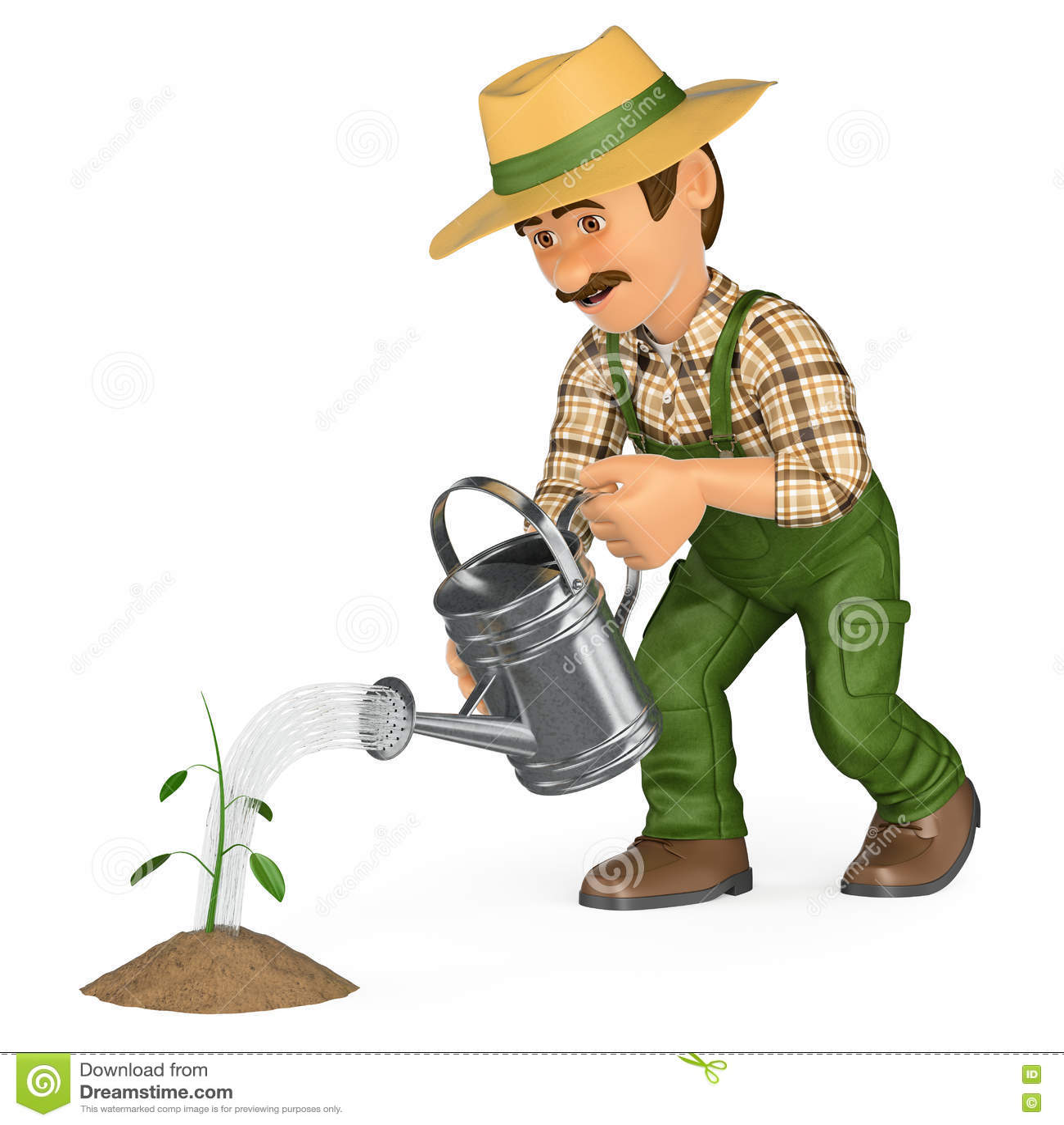 3d White People Gardener Stock Photography