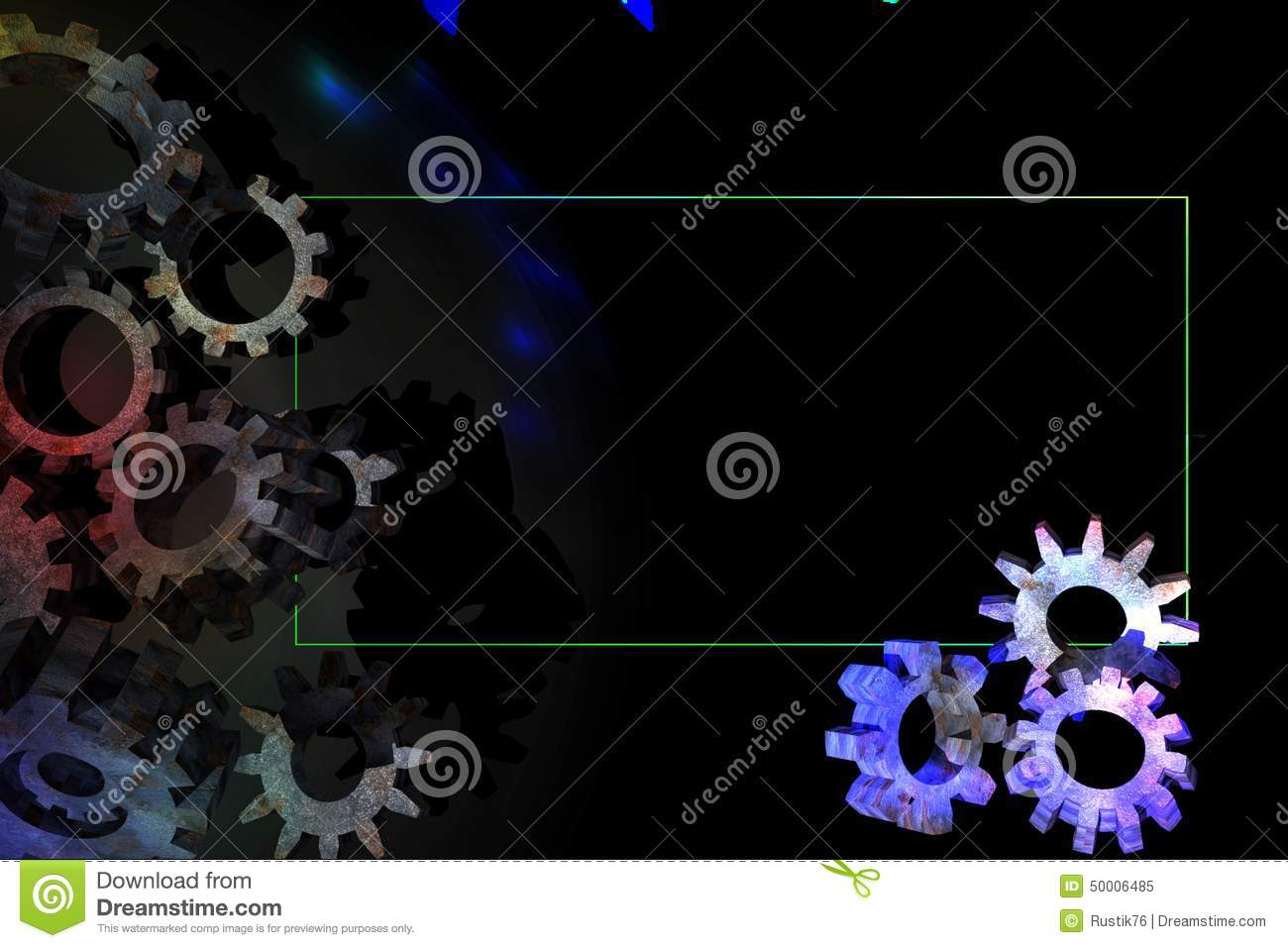 3D Gear On A Black Background With A Green Border. Stock
