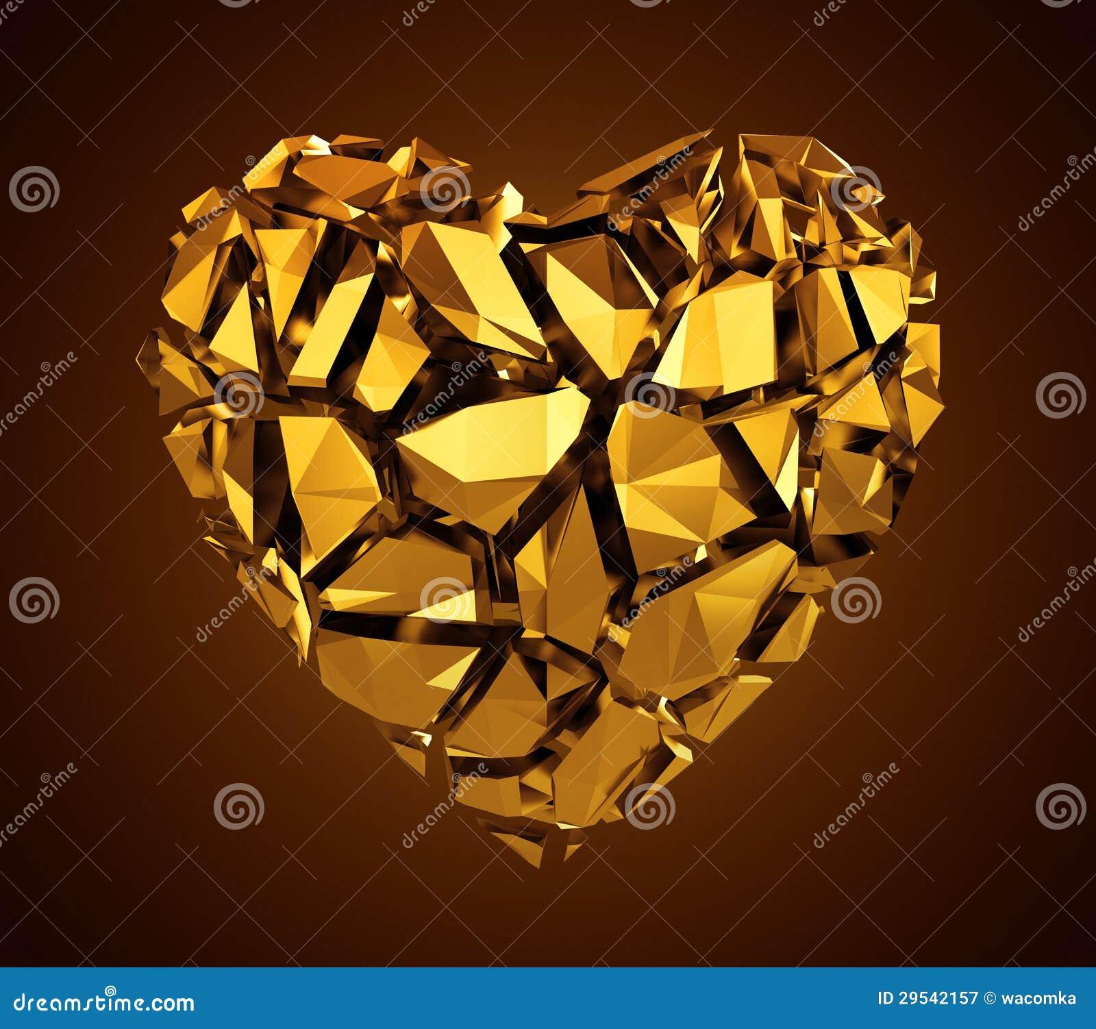 3d gebrochenes goldenes Kristallinneres