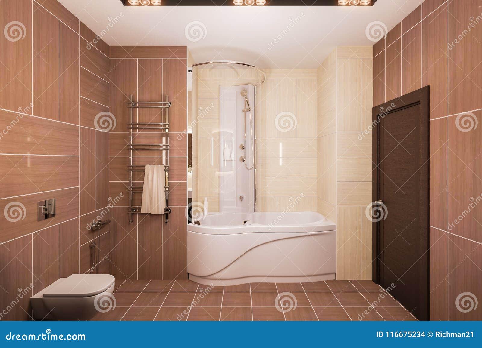 3d geef binnenlands ontwerp van een moderne badkamers met een grote