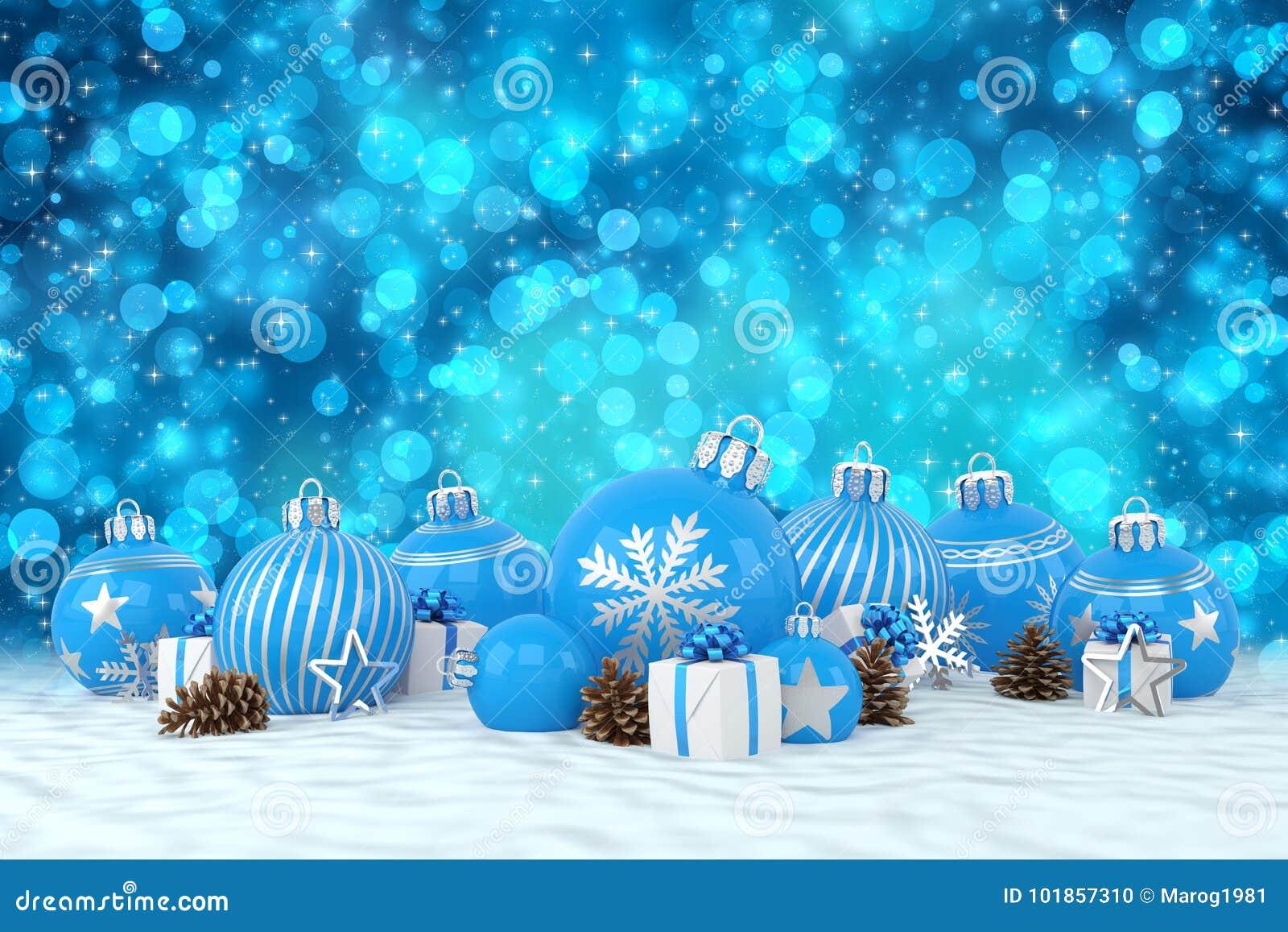3d geef - blauwe Kerstmissnuisterijen over bokehachtergrond terug