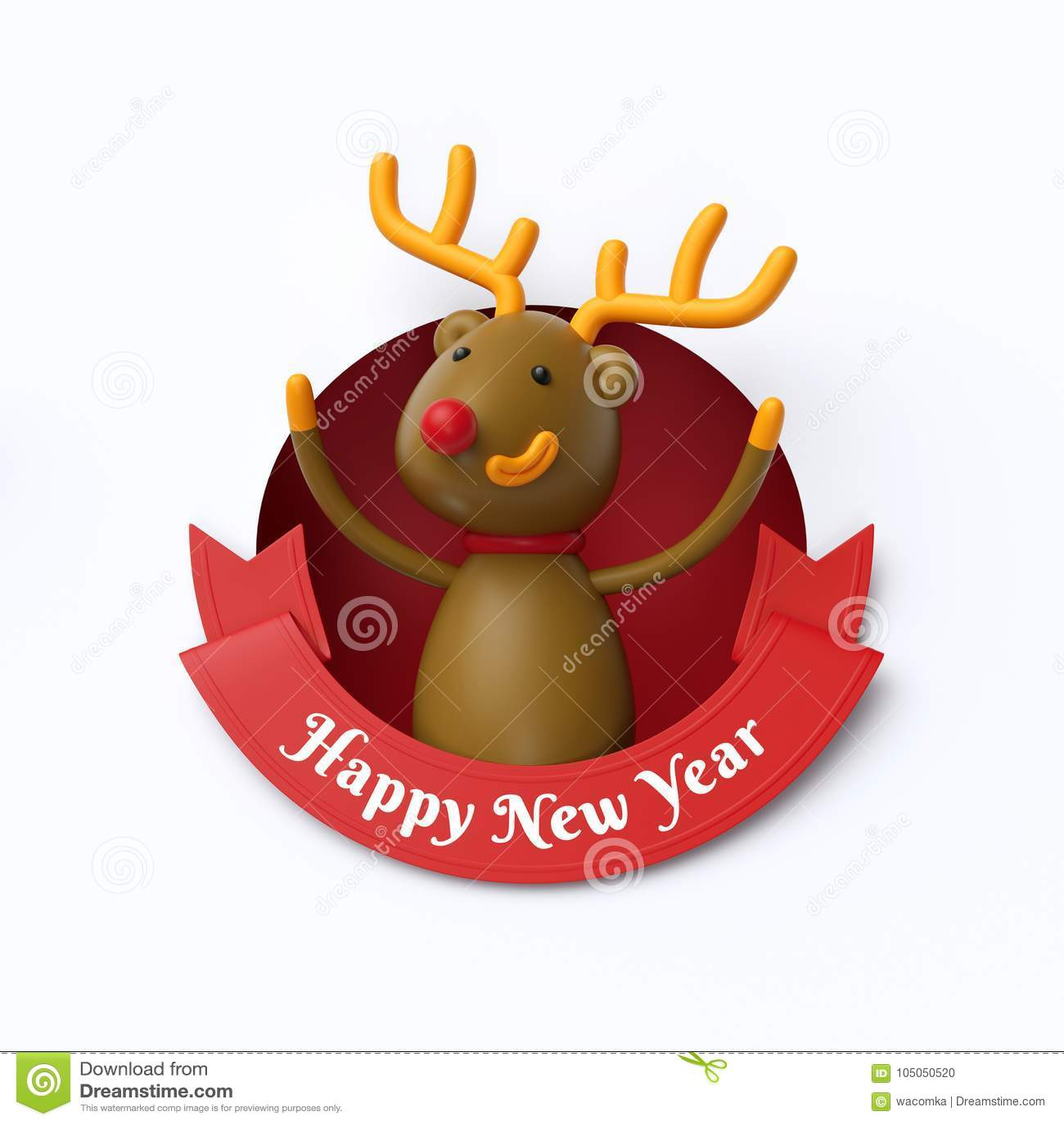 3d geef, grappig rendierstuk speelgoed, binnen rond gat, Gelukkig Nieuwjaar terug