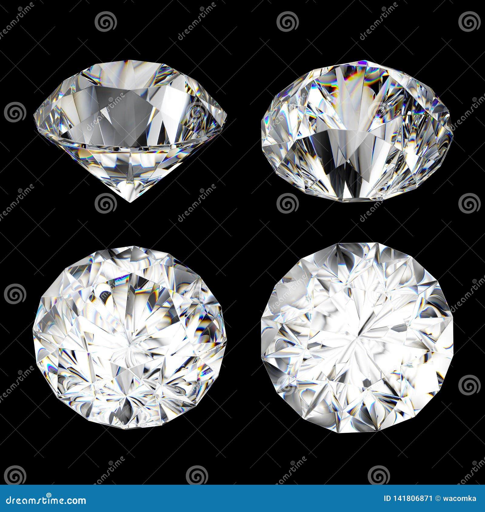 3d geef, ontruim diamant, briljante, kostbare die gem, juweelpictogram, perspectiefmening, illustratiereeks terug, op zwarte acht