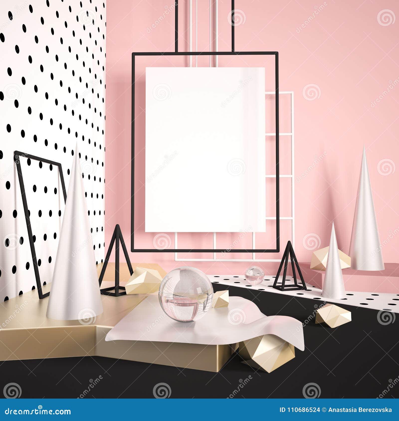 3d geef spot op scène met affiche of banner lege ruimte terug Moderne minimalistic digitale illustratie met zilveren en verschill