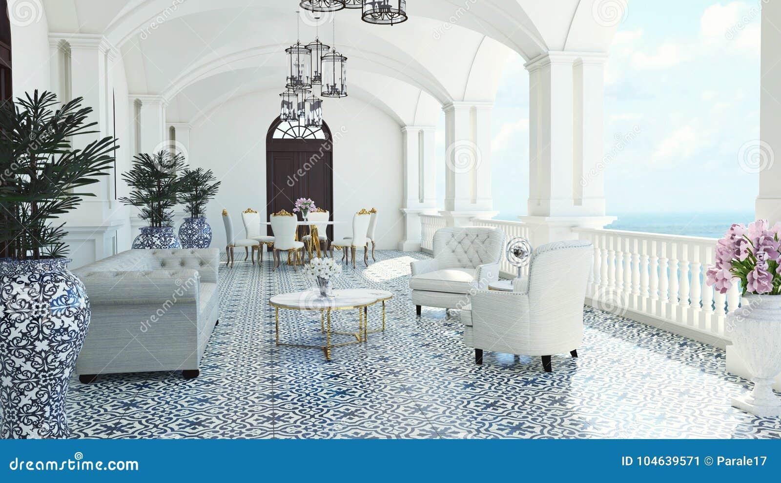 Download 3d Geef Terug Van Veronderstellen Het Klassieke Van Overzees Van Het Luxebalkon Mediterrane Dineren Meningsitalië Stock Illustratie - Illustratie bestaande uit huis, ontwerp: 104639571