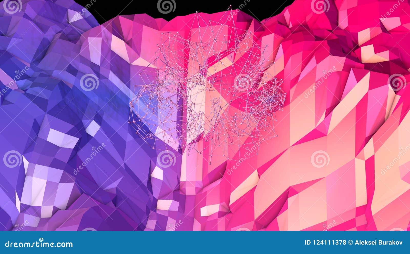 3d geef van abstracte geometrische achtergrond met moderne gradiëntkleuren in lage polystijl terug 3d oppervlakte met aardig blau