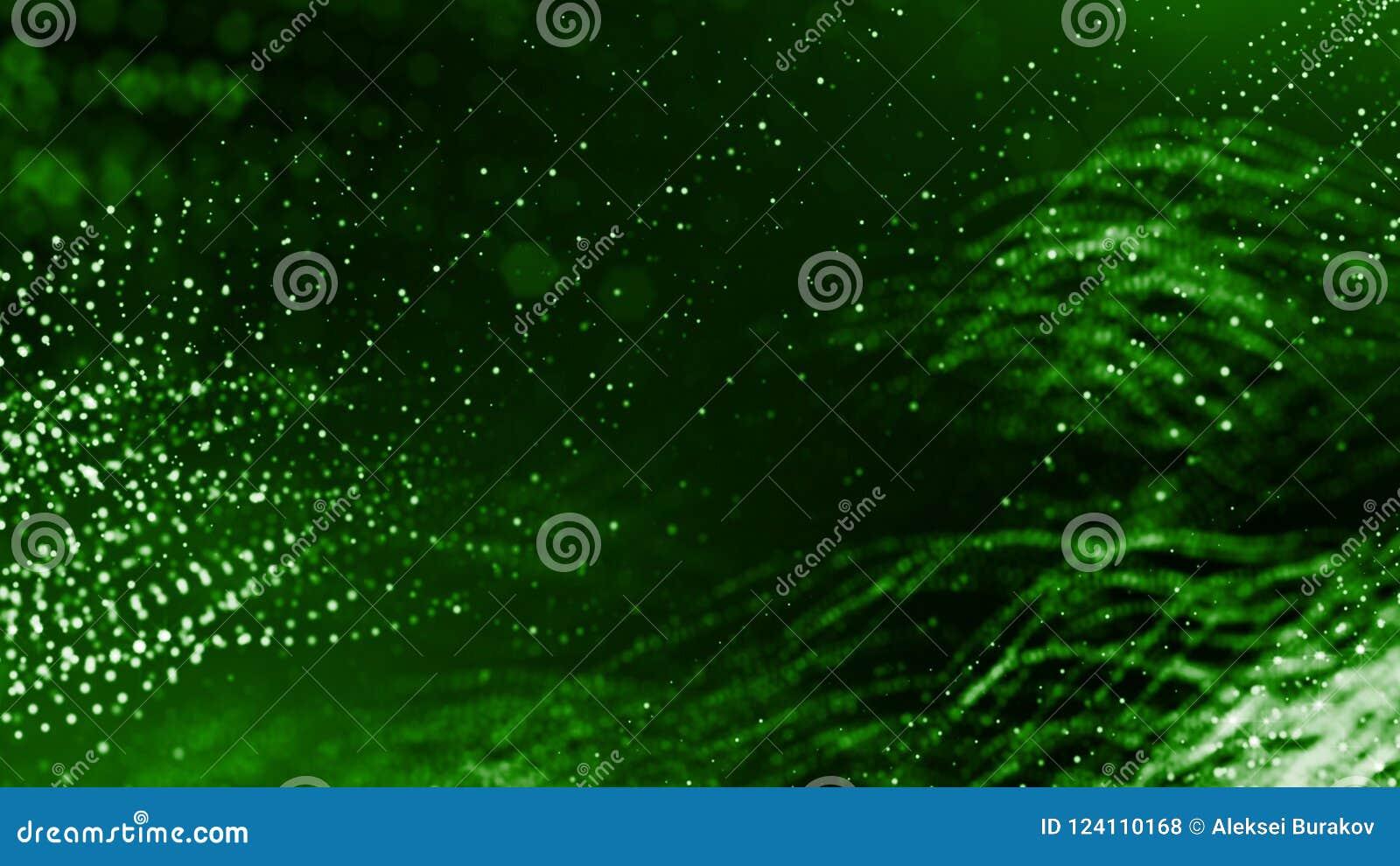 3d geef van abstracte groene samenstelling met diepte van gebied en gloeiende deeltjes in dark met bokehgevolgen terug wetenschap