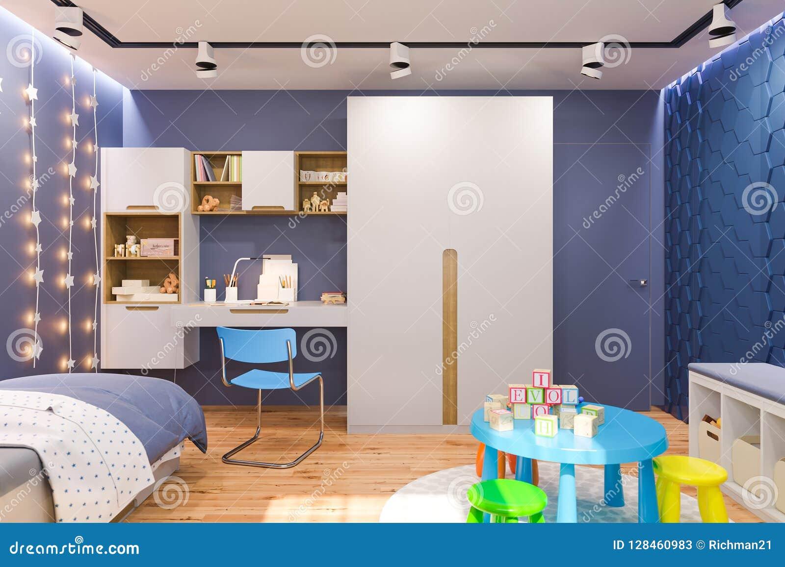 3d geef van de kinderen de slaapkamerbinnenland van ` s in diepe blauwe kleur terug
