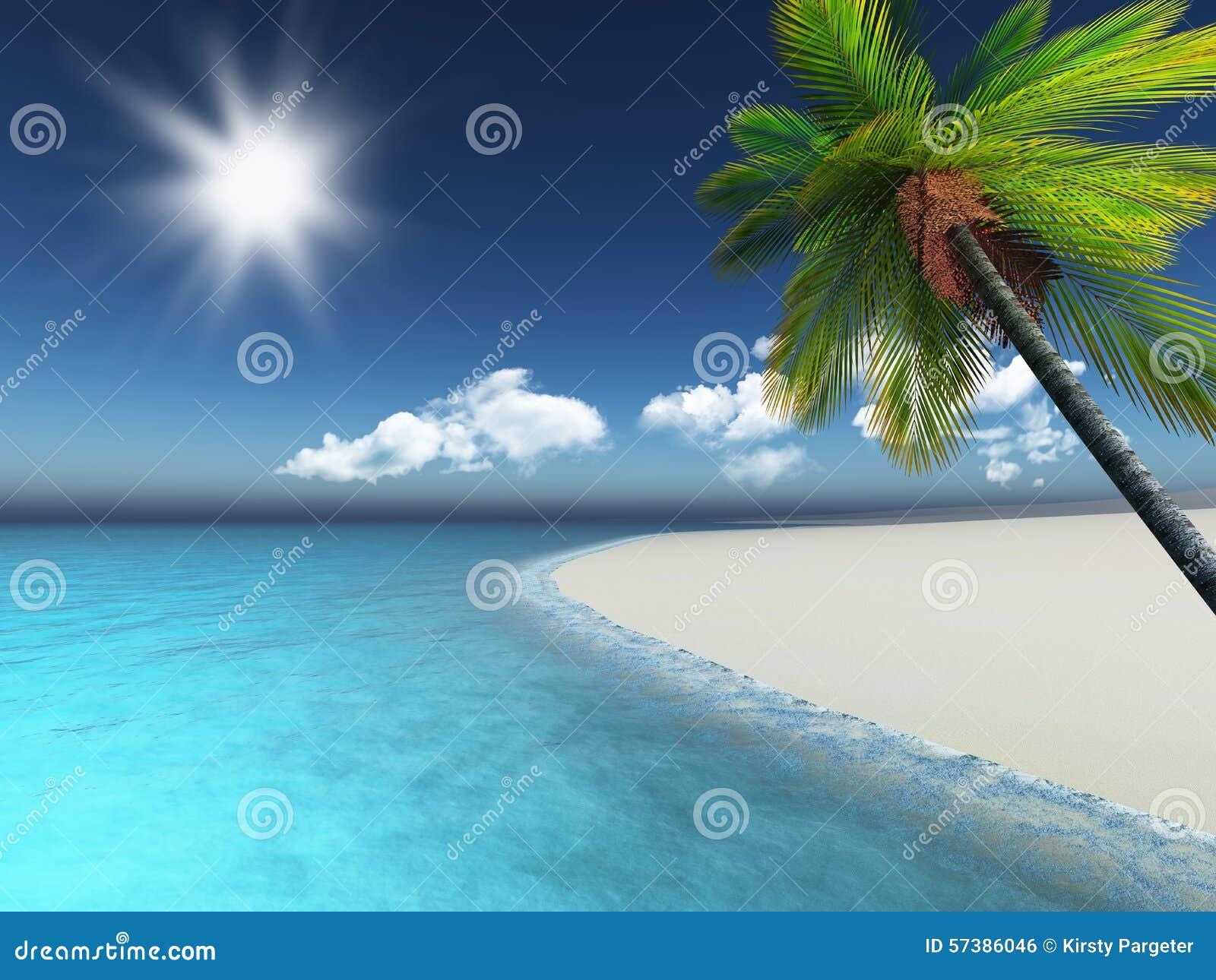 3D geef van een palm op een zandig strand terug