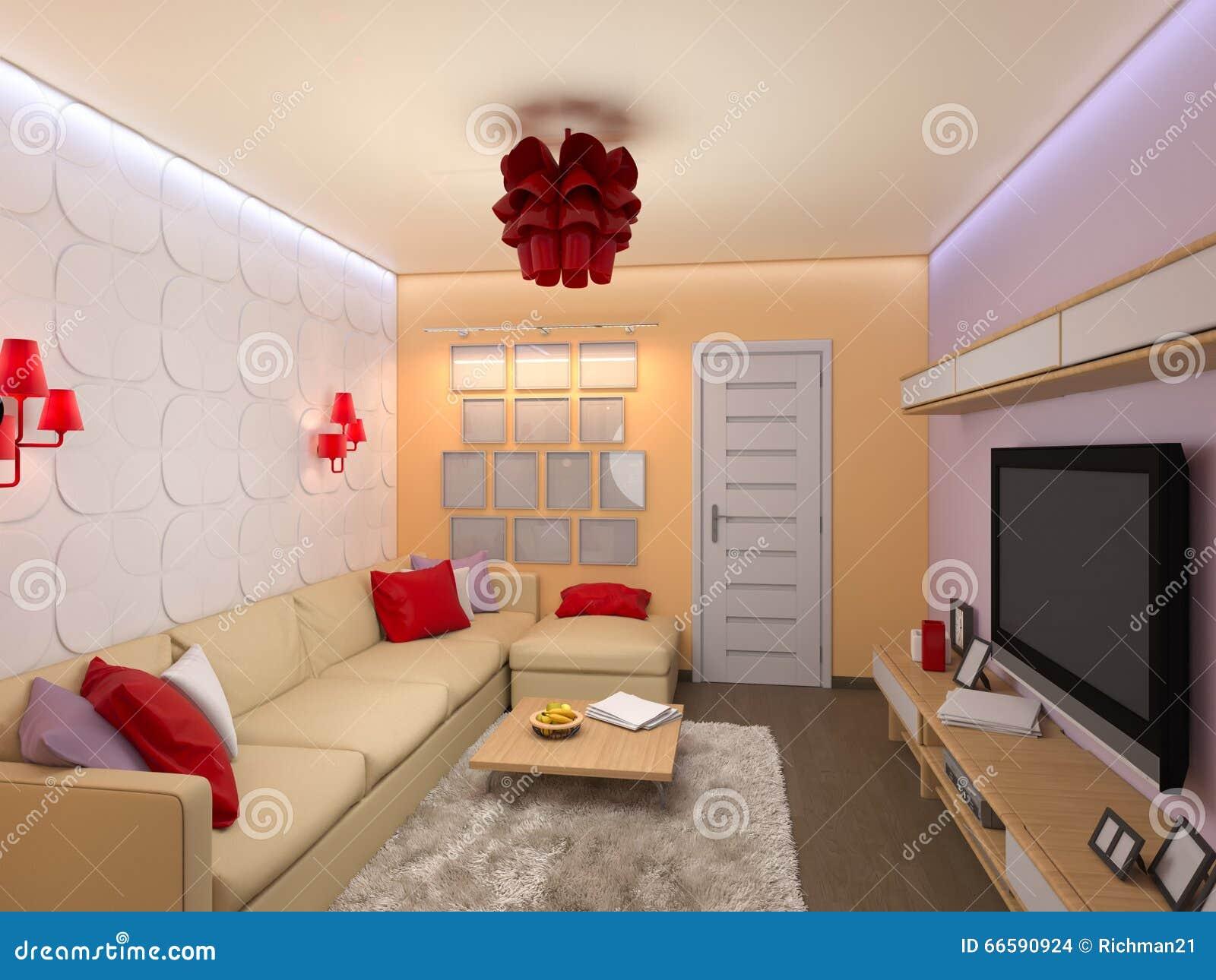 3d Woonkamer Ontwerpen : D geef van het binnenlandse ontwerp van de woonkamer in modern s