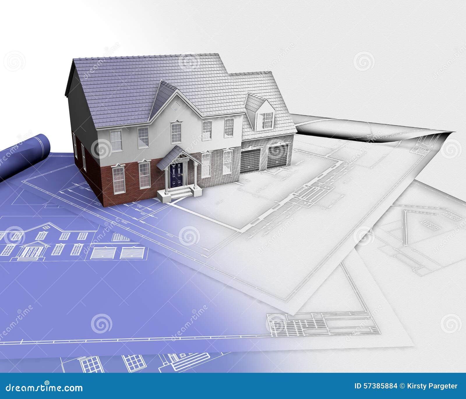 3D geef van huis op blauwdrukken met de helft in schetsfase terug