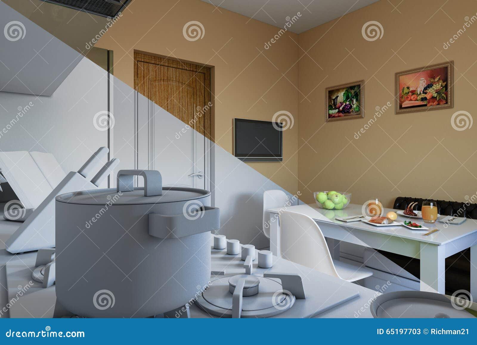 3d geef van keukenontwerp terug in een moderne stijl, een ...