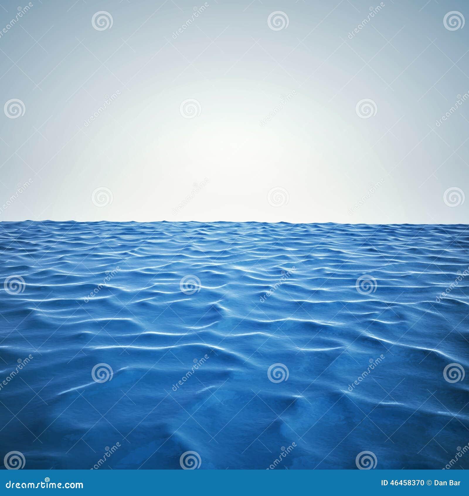 3d geef van oceaan en mooie blauwe hemel terug