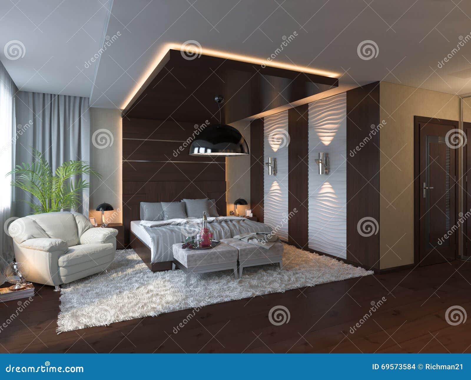 3d geef van slaapkamer binnenlands ontwerp in een eigentijdse stijl terug