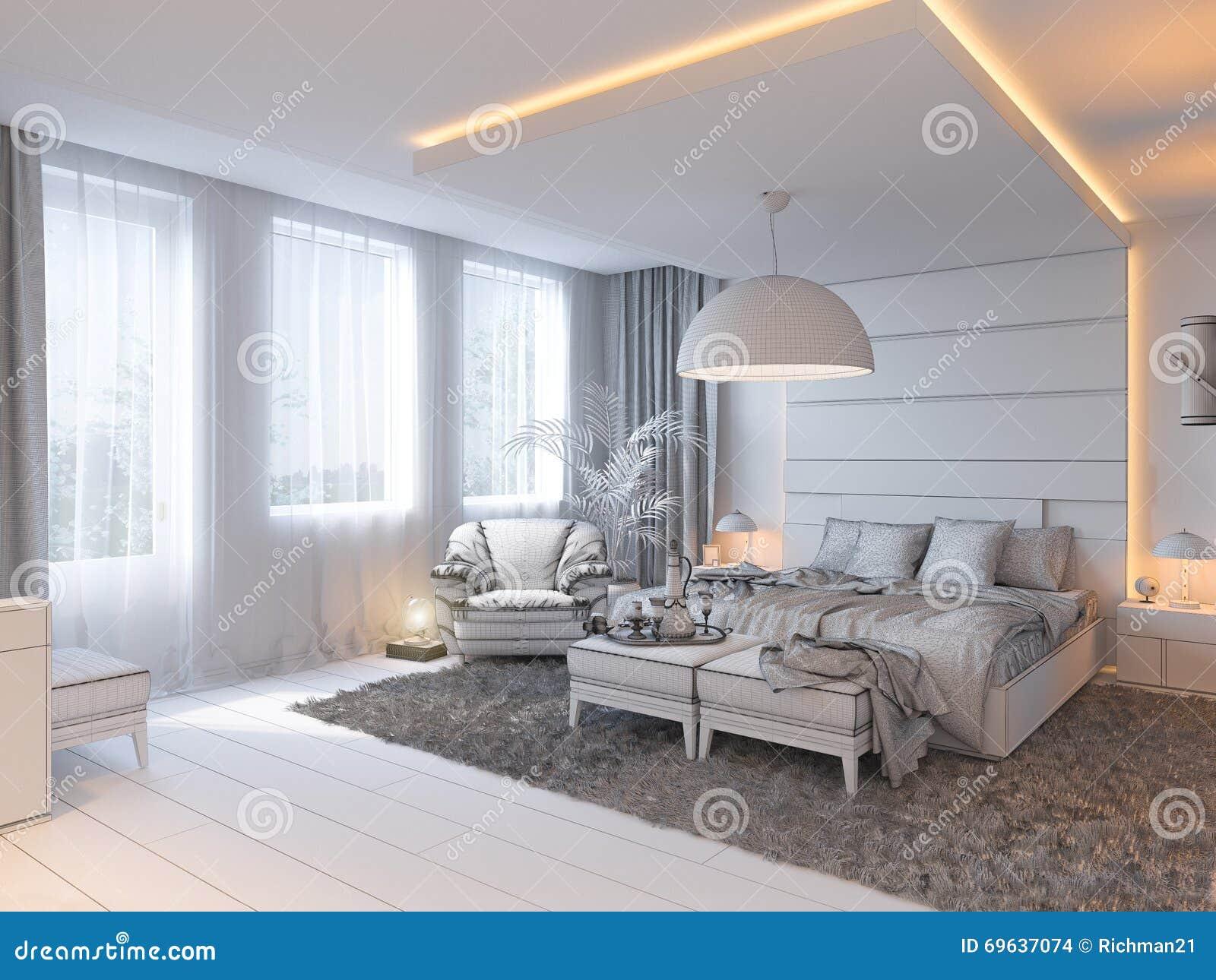 3d geef van slaapkamer binnenlands ontwerp in een eigentijdse stijl