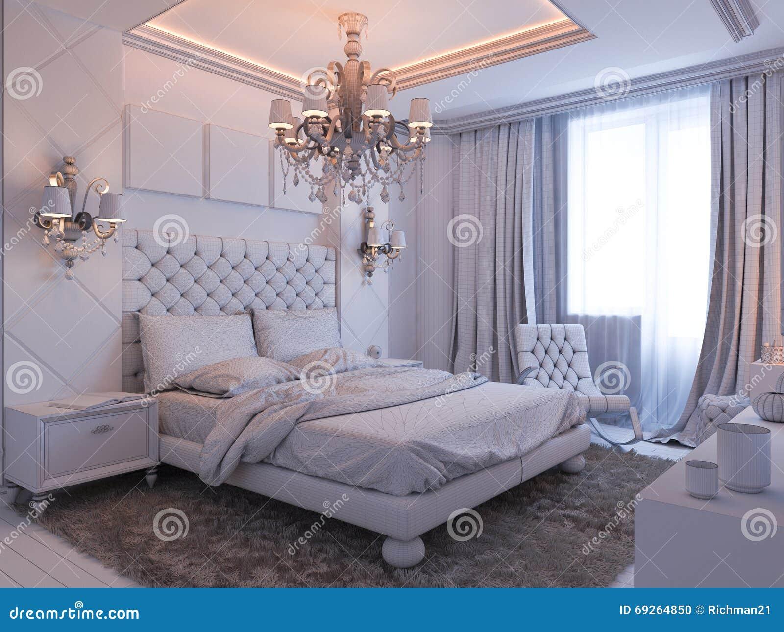 Moderne Slaapkamer Ontwerpen : D geef van slaapkamer binnenlands ontwerp in een moderne