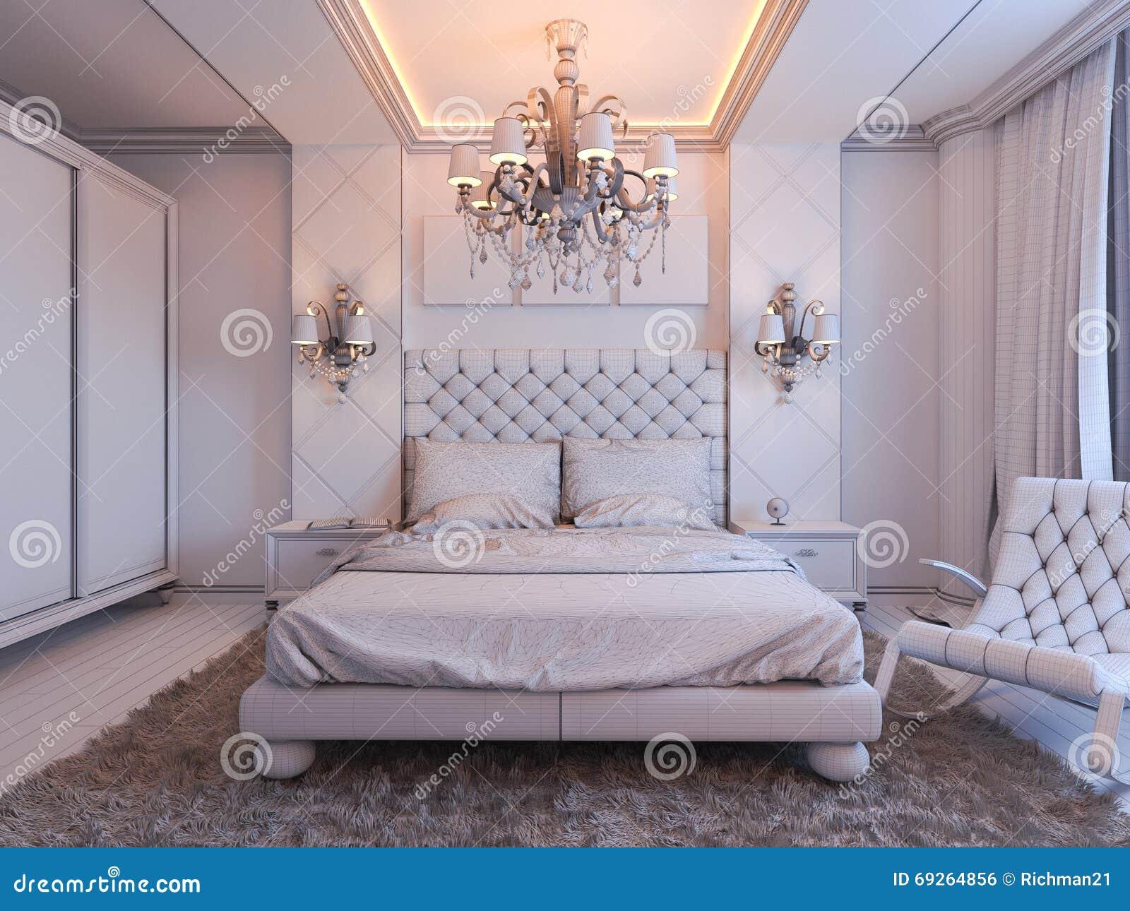 3d geef van slaapkamer binnenlands ontwerp in een moderne klassieke stijl terug