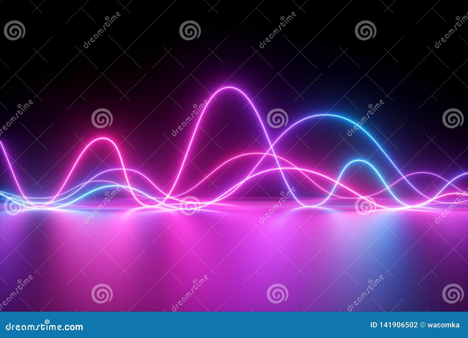 3d geef, vat achtergrond, neonlicht, de lijnen van de impulsmacht samen, toont de laser, impuls, grafiek, ultraviolette lijnen, e