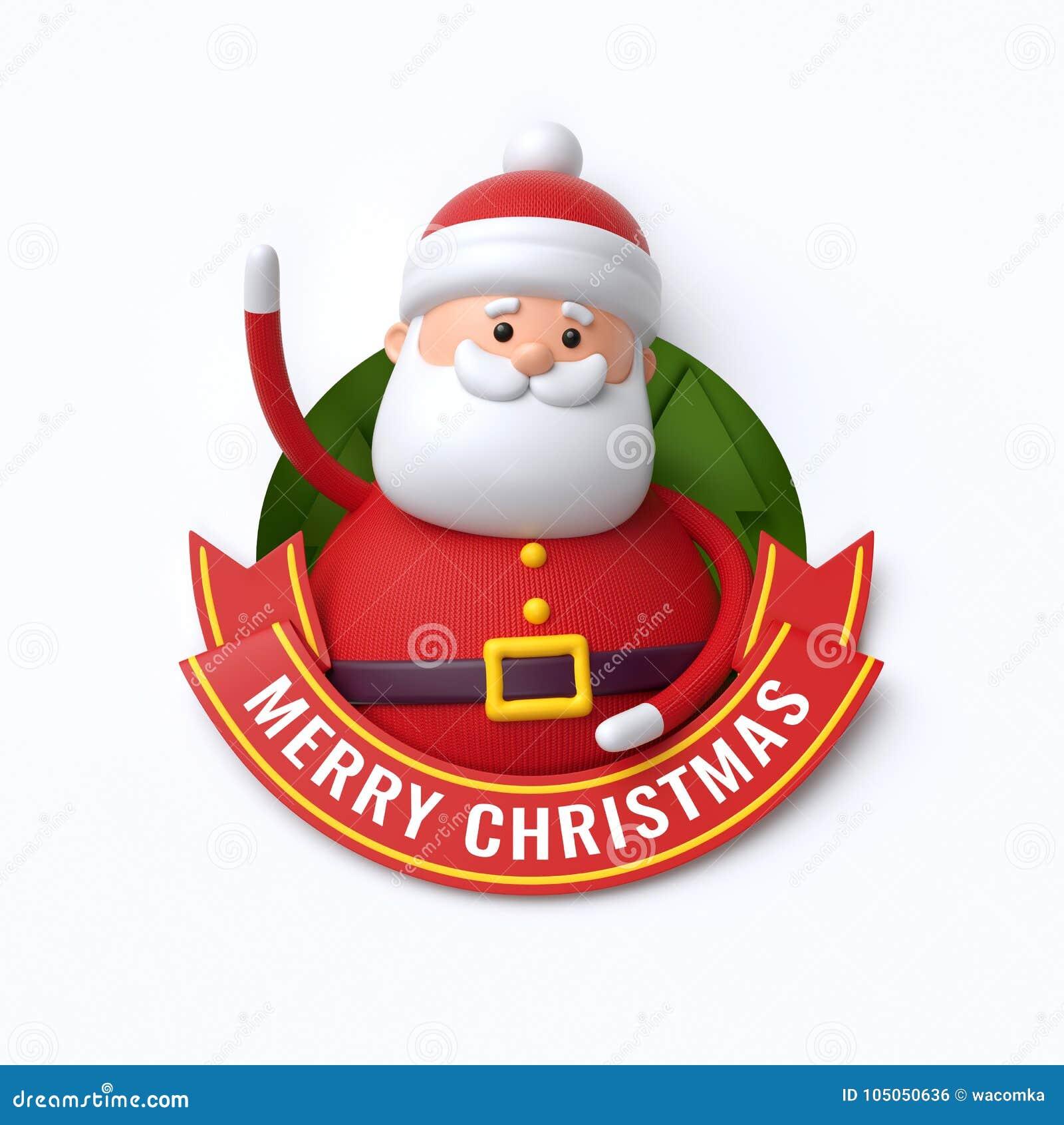 3d geef, Vrolijke Kerstmistekst, leuke Santa Claus, beeldverhaalchara terug