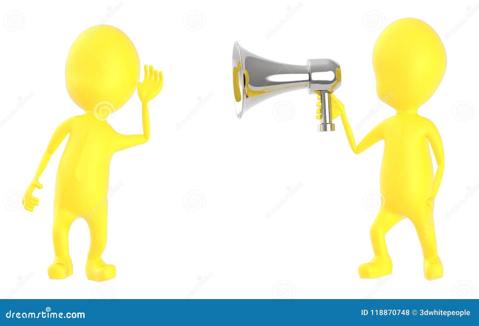 3d geel karakter die aan luide hailer luisteren