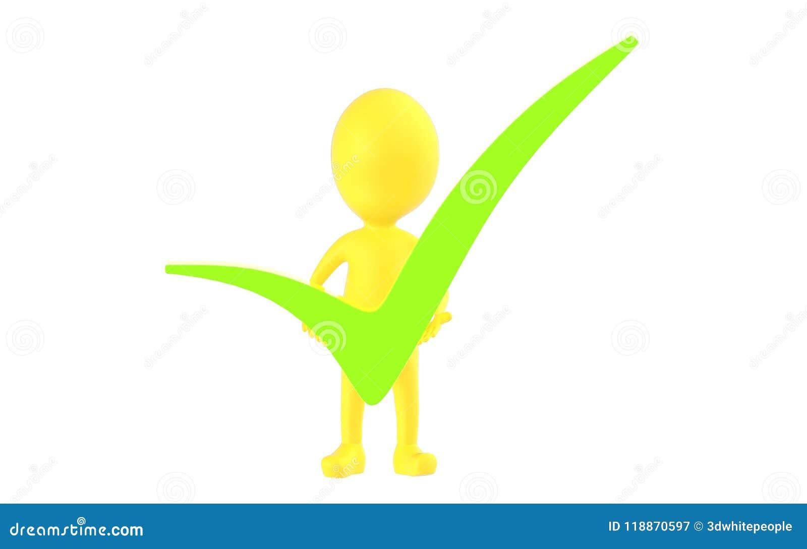 3d geel karakter die een groene tik in zijn handen houden