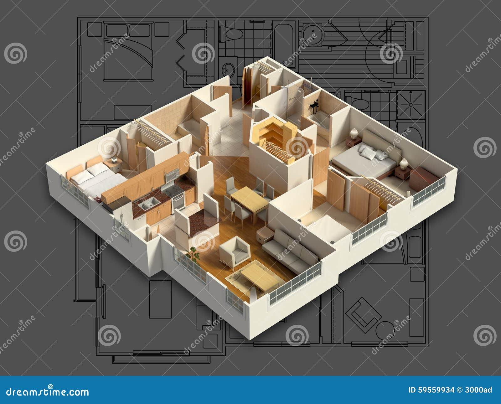 3D Gelieferter Haus-Innenraum Auf Einem Plan Stock Abbildung ...