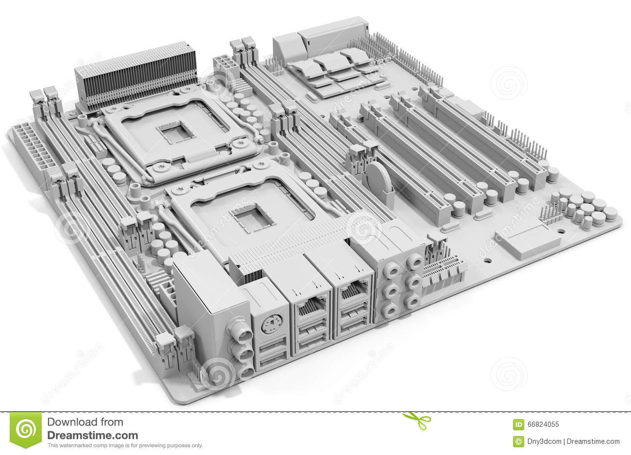 3d Generic Computer Motherboard Stock Illustration Of Electrical Plan