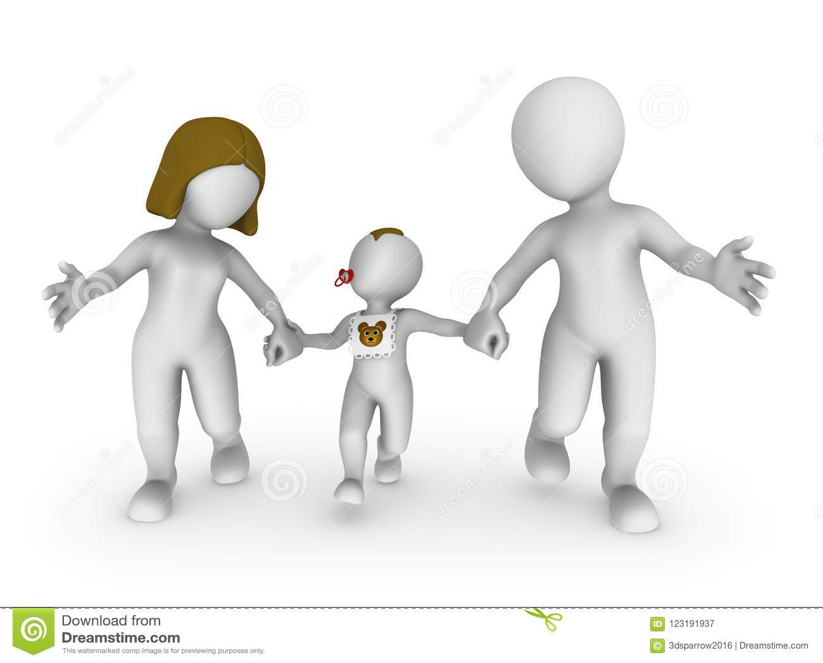 3d gente bianca, famiglia felice