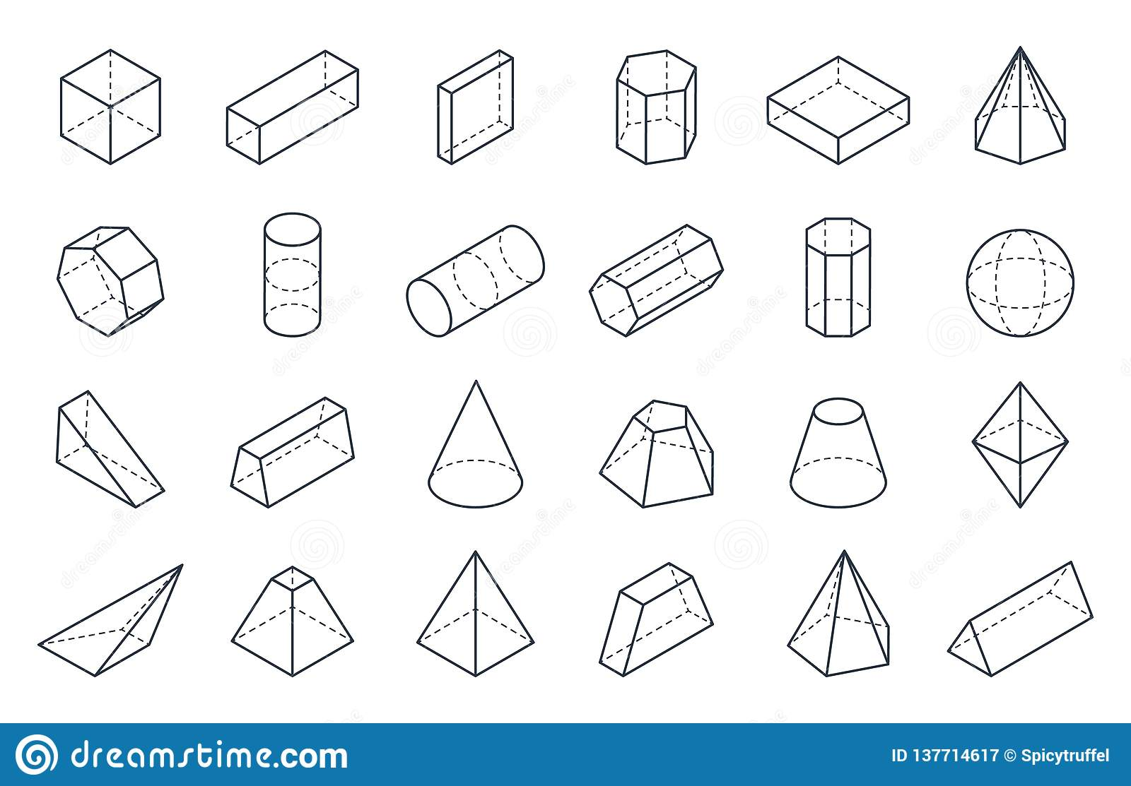 3D Geometric Shapes  Isometric Linear Forms, Cube Cone