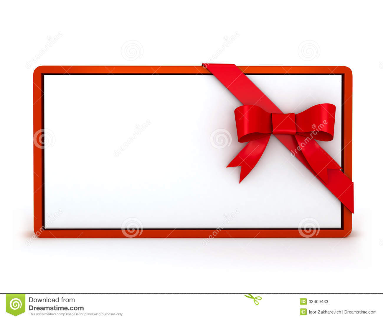 3d Gift Card With Ribbon Stock Illustration Illustration