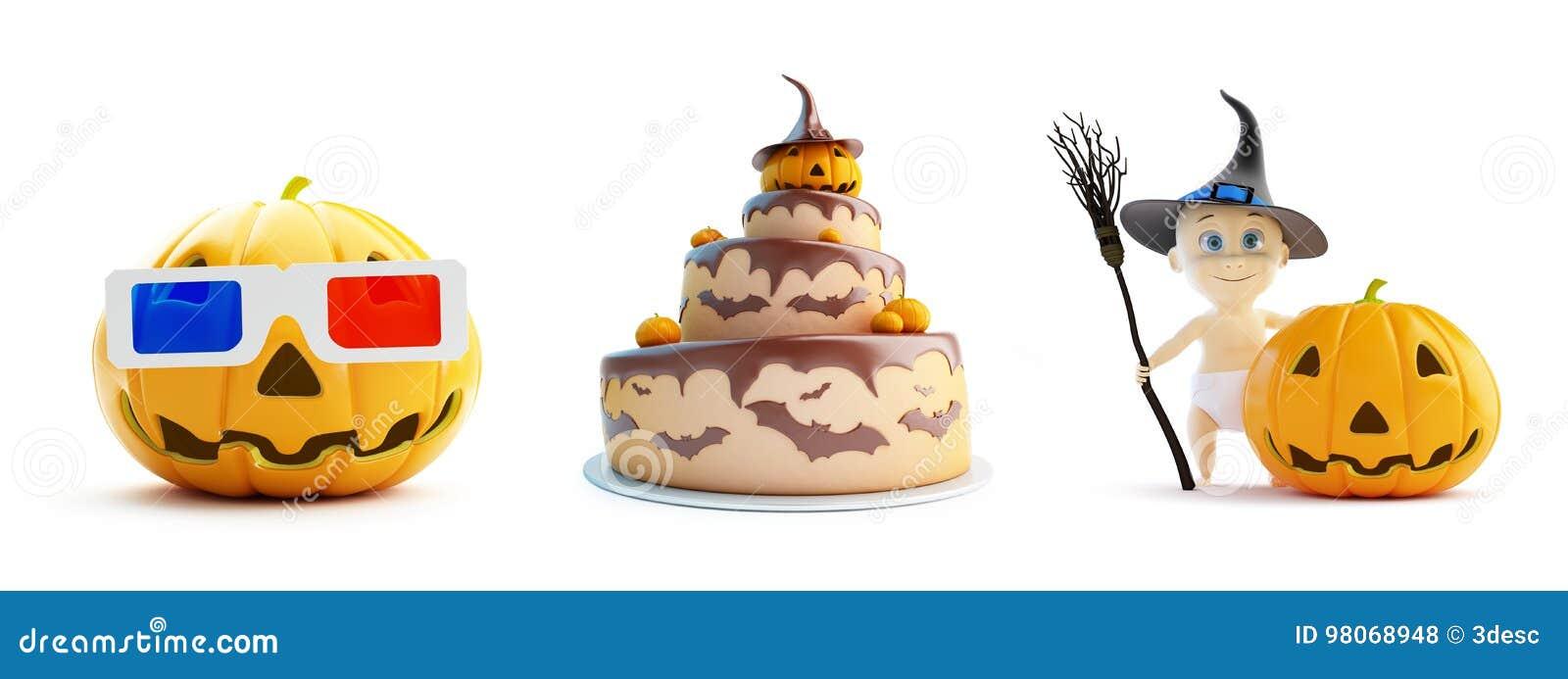 3d Gläser, Kind in einem Halloween-Kostümkuchen auf einer weißen Illustration des Hintergrundes 3D, Wiedergabe 3D