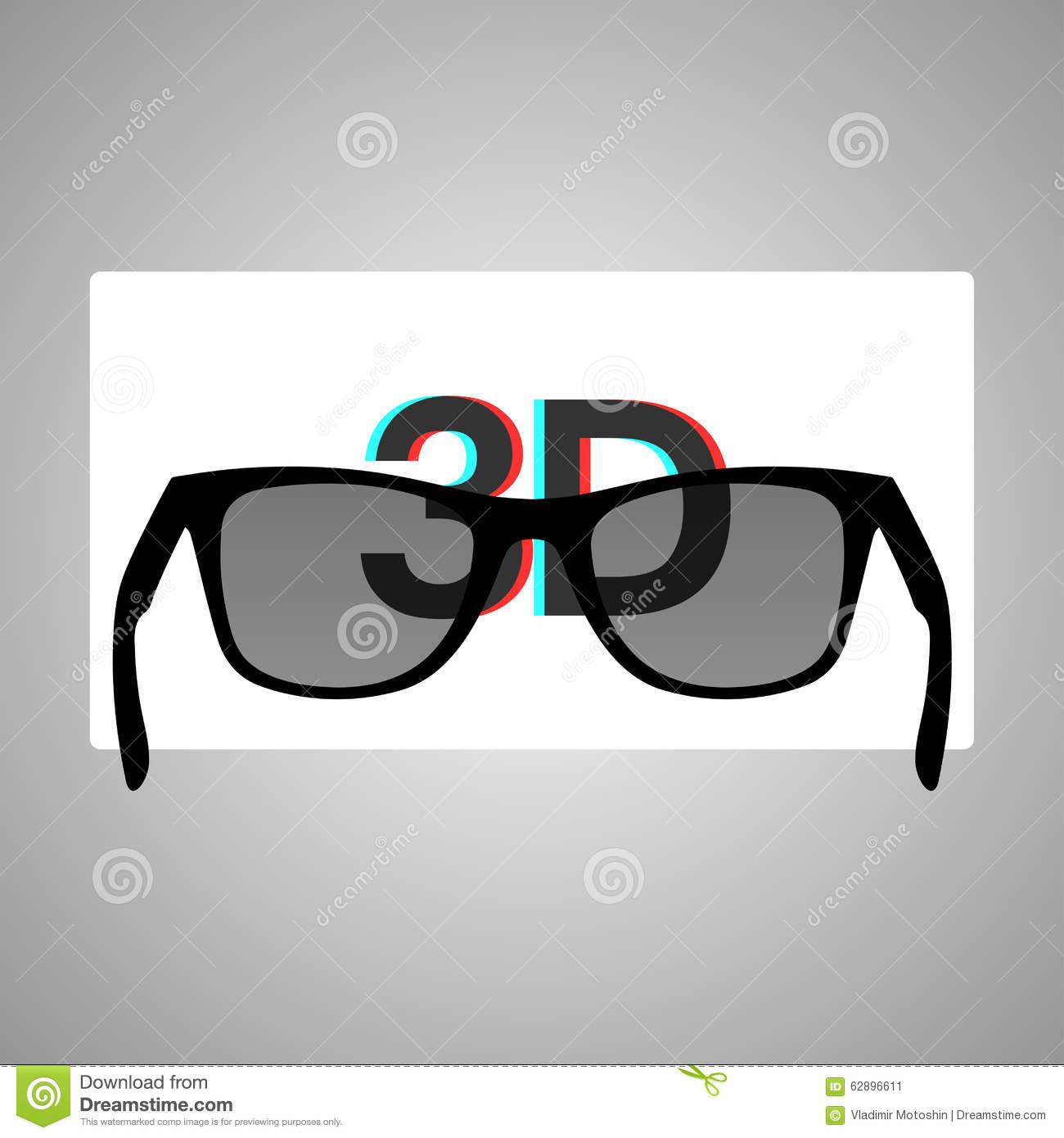 3D Glasses And A Stereo Image On A White Screen Stock ...