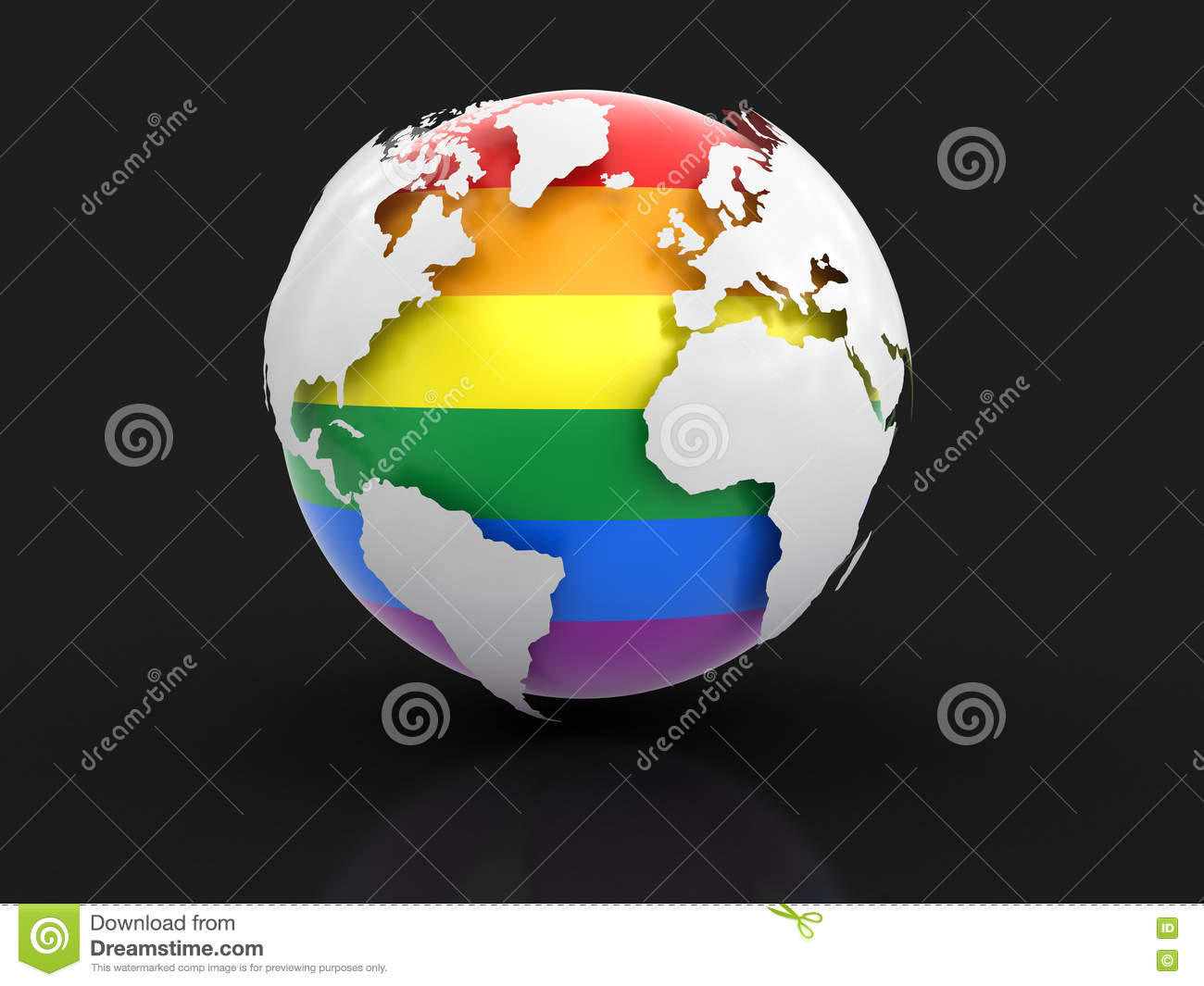 3d globe with gay pride color stock illustration - illustration of