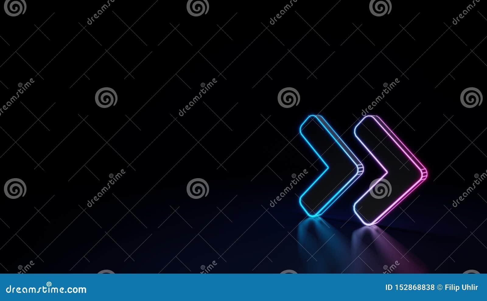 3d gloeiend neonsymbool van symbool van hoek dubbel die recht op zwarte achtergrond wordt geïsoleerd