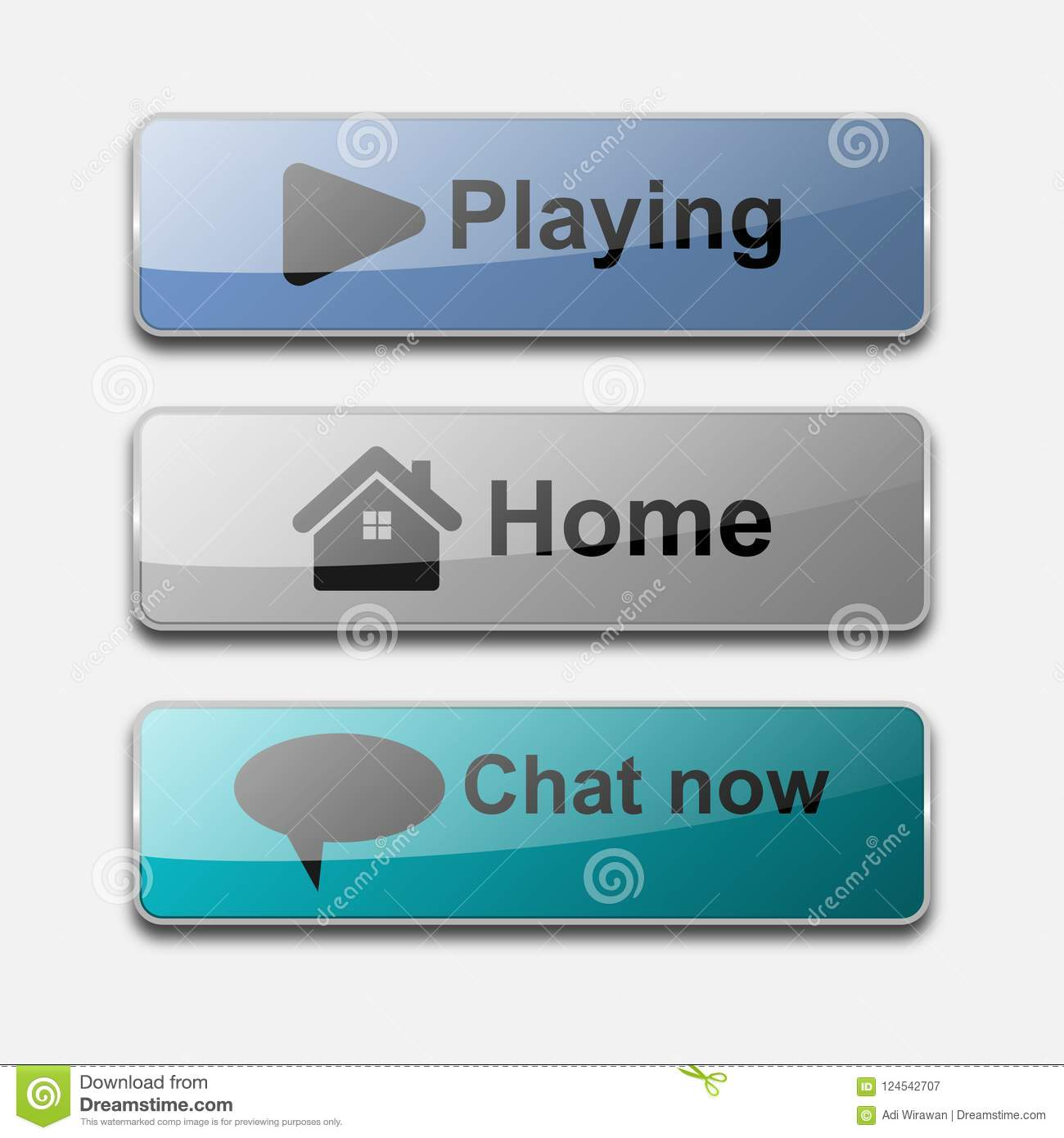 3D glossy action web button vector design.